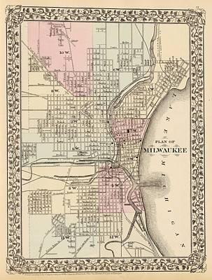 Old Milwaukee Drawings Fine Art America - Vintage milwaukee map