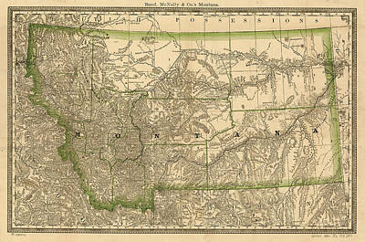 State Of Montana Drawing - Vintage Map Of Montana - 1881 by CartographyAssociates