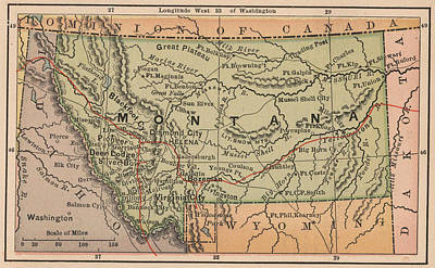 State Of Montana Drawing - Vintage Map Of Montana - 1885 by CartographyAssociates