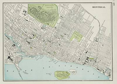 Old Montreal Drawing - Vintage Map Of Montreal - 1901 by CartographyAssociates