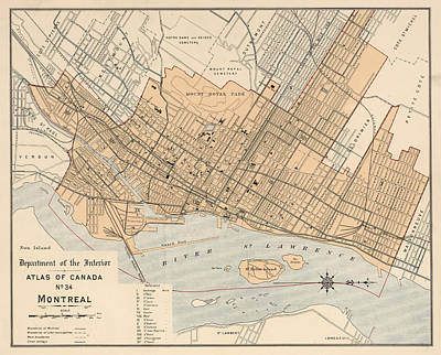 Old Montreal Drawing - Vintage Map Of Montreal - 1906 by CartographyAssociates