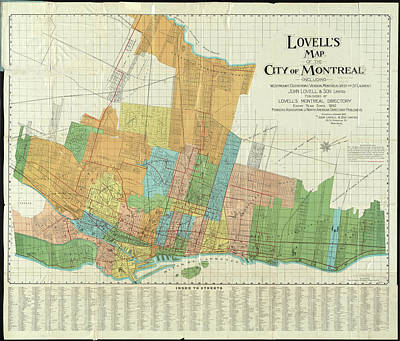 Old Montreal Drawing - Vintage Map Of Montreal - 1920 by CartographyAssociates