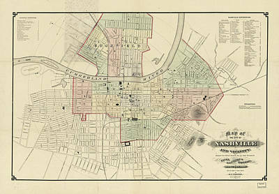 Map Of Tennessee Drawing - Vintage Map Of Nashville Tennessee - 1877 by CartographyAssociates