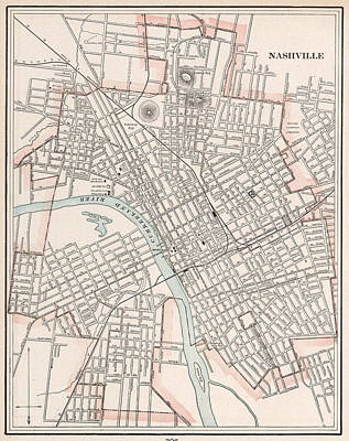 Map Of Tennessee Drawing - Vintage Map Of Nashville Tennessee - 1901 by CartographyAssociates