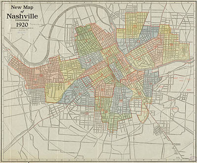 Map Of Tennessee Drawing - Vintage Map Of Nashville Tennessee - 1920 by CartographyAssociates