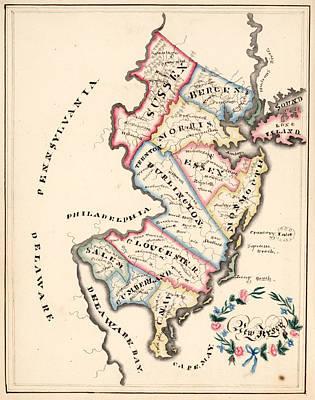 Nj Drawing - Vintage Map Of New Jersey - 1819 by CartographyAssociates