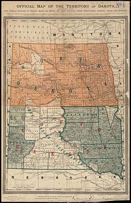 Vintage Map Of North And South Dakota - 1886 Art Print by CartographyAssociates