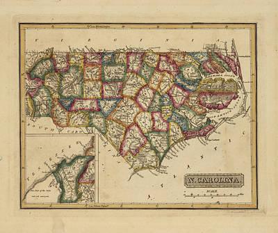Antique Map Of North Carolina Art Print