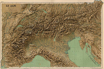 Vintage Map Of Northern Italy - 1899 Art Print