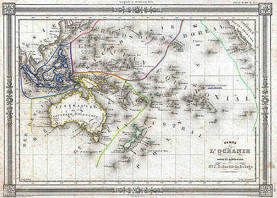 Oceania Drawing - Vintage Map Of Oceania - 1852 by CartographyAssociates