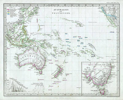 Oceania Drawing - Vintage Map Of Oceania - 1862 by CartographyAssociates