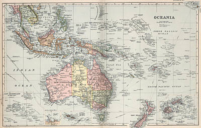 Oceania Drawing - Vintage Map Of Oceania - 1892 by CartographyAssociates