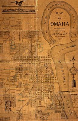 Old Map Mixed Media - Vintage Map Of Omaha Nebraska 1878 by Design Turnpike