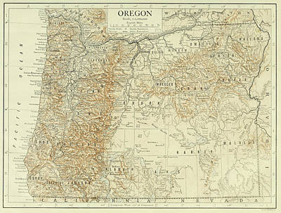 Oregon State Drawing - Vintage Map Of Oregon - 1911 by CartographyAssociates