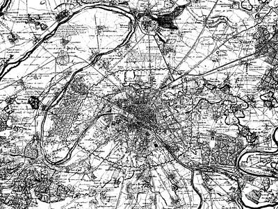 Drawing - Vintage Map Of Paris And The Outskirts In 1840 by French School