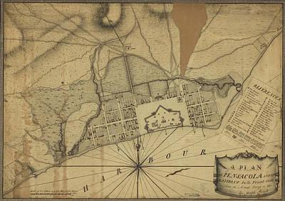 Valentines Day - Vintage Map of Pensacola Florida - 1778 by CartographyAssociates