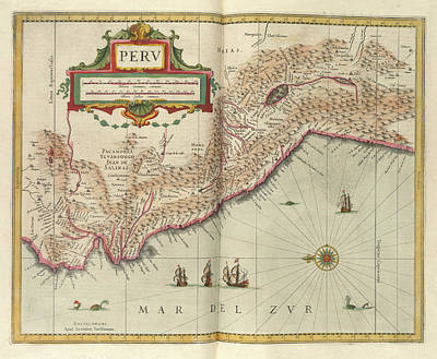 Owls - Vintage Map of Peru - 1638 by CartographyAssociates