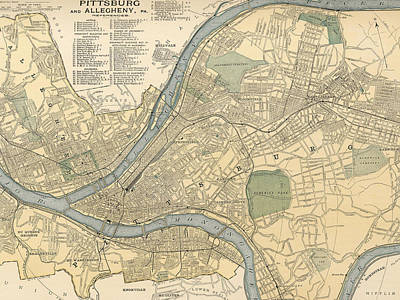 Pennsylvania Drawing - Vintage Map Of Pittsburgh Pa - 1891 by CartographyAssociates