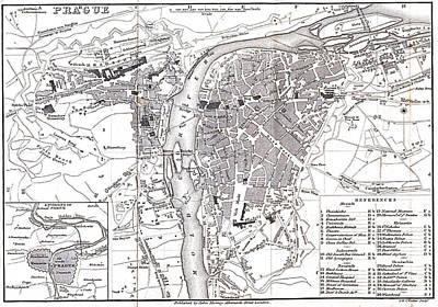 Prague Drawing - Vintage Map Of Prague - 1858 by CartographyAssociates