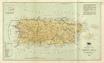 Puerto Rico Drawing - Vintage Map Of Puerto Rico - 1898 by CartographyAssociates