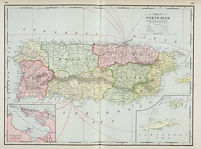 Puerto Rico Drawing - Vintage Map Of Puerto Rico - 1901 by CartographyAssociates