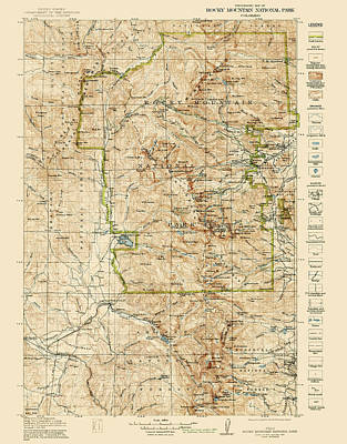 Rocky Drawing - Vintage Map Of Rocky Mountain National Park - Colorado - 1919/1940 by Blue Monocle