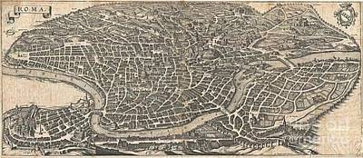 Vintage Map Of Rome Original