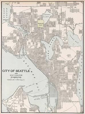 Seattle Drawing - Vintage Map Of Seattle Washington - 1901 by CartographyAssociates