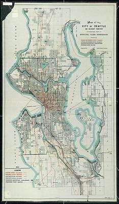 Seattle Drawing - Vintage Map Of Seattle Washington - 1911 by CartographyAssociates