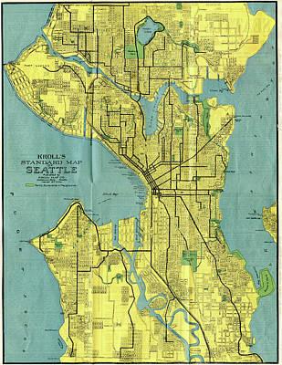 Seattle Drawing - Vintage Map Of Seattle Washington - 1914 by CartographyAssociates