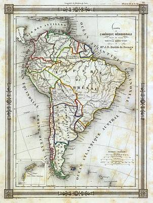 Archival Photograph - Vintage Map Of South America by Gillham Studios