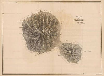 Oceania Drawing - Vintage Map Of Tahiti - 1845 by CartographyAssociates