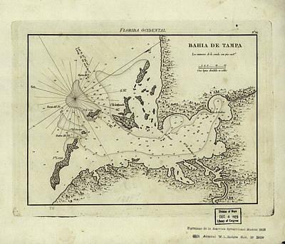 Tampa Bay Drawing - Vintage Map Of Tampa Florida - 1809 by CartographyAssociates