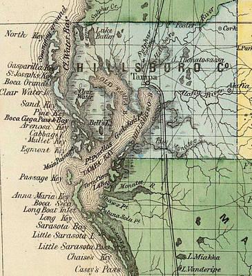 Tampa Bay Drawing - Vintage Map Of Tampa Florida - 1870 by CartographyAssociates