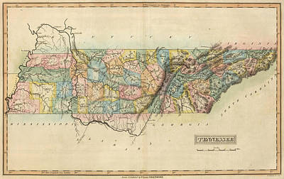 Tennessee Map Drawing - Vintage Map Of Tennessee - 1822 by CartographyAssociates