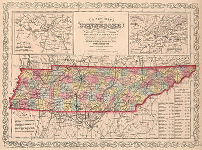 Map Of Tennessee Drawing - Vintage Map Of Tennessee - 1859 by CartographyAssociates