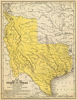 Texas Drawing - Vintage Map Of Texas - 1847 by CartographyAssociates