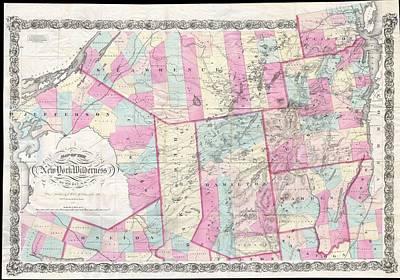Adirondack Drawing - Vintage Map Of The Adirondack Mountains - 1867 by CartographyAssociates