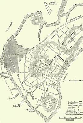 Drawing - Vintage Map Of The Battle Of Bunker Hill by American School
