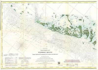 Key West Drawing - Vintage Map Of The Florida Keys  by CartographyAssociates