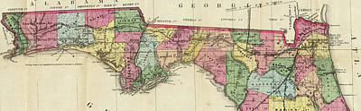Vintage Map Of The Florida Panhandle - 1870 Art Print