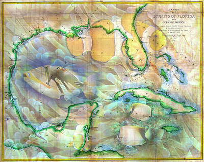 Photograph - Vintage Map Of The Gulf Of Mexico And The Florida Straits by Debra and Dave Vanderlaan