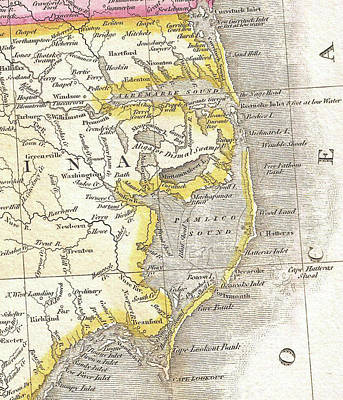 Vintage Map Of The Outer Banks - 1818 Art Print