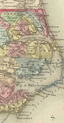 Vintage Map Of The Outer Banks - 1859 Art Print