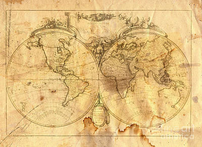 Navigation Digital Art - Vintage Map Of The World by Michal Boubin