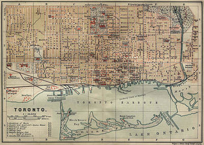 I Love Canada Drawing - Vintage Map Of Toronto - 1894 by CartographyAssociates