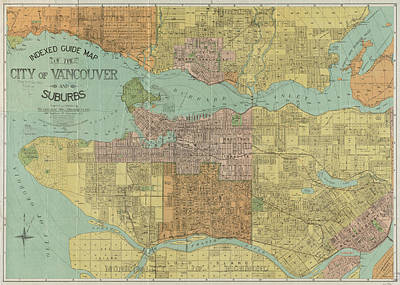 Vancouver Drawing - Vintage Map Of Vancouver Canada - 1920 by CartographyAssociates