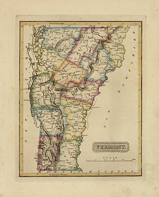Vermont Map Painting - Antique Map Of Vermont by Fielding Lucas