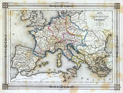 Archival Photograph - Vintage Map Of Western Europe by Gillham Studios