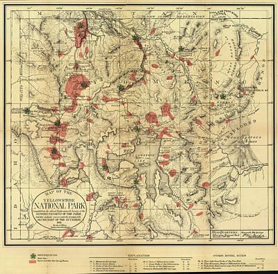 Yellowstone Drawing - Vintage Map Of Yellowstone National Park - 1881 by CartographyAssociates